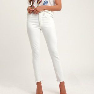 Levi's 501 Skinny Jeans High Rise Button Fly White